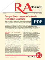 Good practices for computerised systems -CRAdvisor30Jul2008