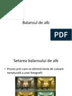 Balansul de alb, Distanta focala