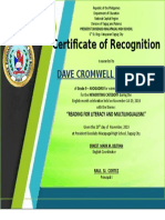 Certificates OF rECONITIONGNITI