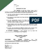 affidavit of loss - caritas