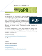 Jopr Call for Paper April 2020