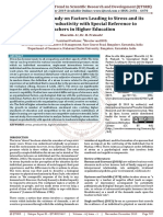 A Conceptual Study on Factors Leading to Stress and its Impact on Productivity with Special Reference to Teachers in Higher Education