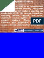 pHOSPHORIC aCID mANUFACTURING pROCESS