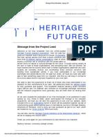 Heritage Futures Newsletter, Spring 2019