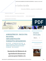 AGROQUÍMICOS _ HACIA UNA RACIONAL IMPLEMENTACIÓN NORMATIVA BONAERENSE. – Abogado Juan Carlos Acuña