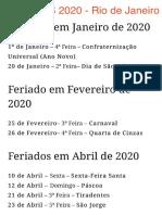 FERIADOS 2020 - Rio de Janeiro