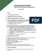 Estructura del plan de inversión UV