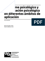 El informe psicológico y la evaluación psicológica en diferentes ámbitos de aplicación