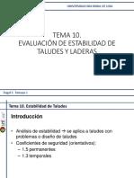 TEMA 10. EVALUACIÓN DE ESTABILIDAD DE TALUDES Y LADERAS