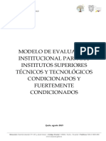 MODELO DE EVALUACIÓN INSTITUCIONAL PARA LOS ISTT CONDICIONADOS Y FUERTEMENTE CONDICIONADOS