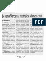 Manila Standard, Jan. 7, 2020, Be wary of Ampatuan health plea, solon asks court.pdf
