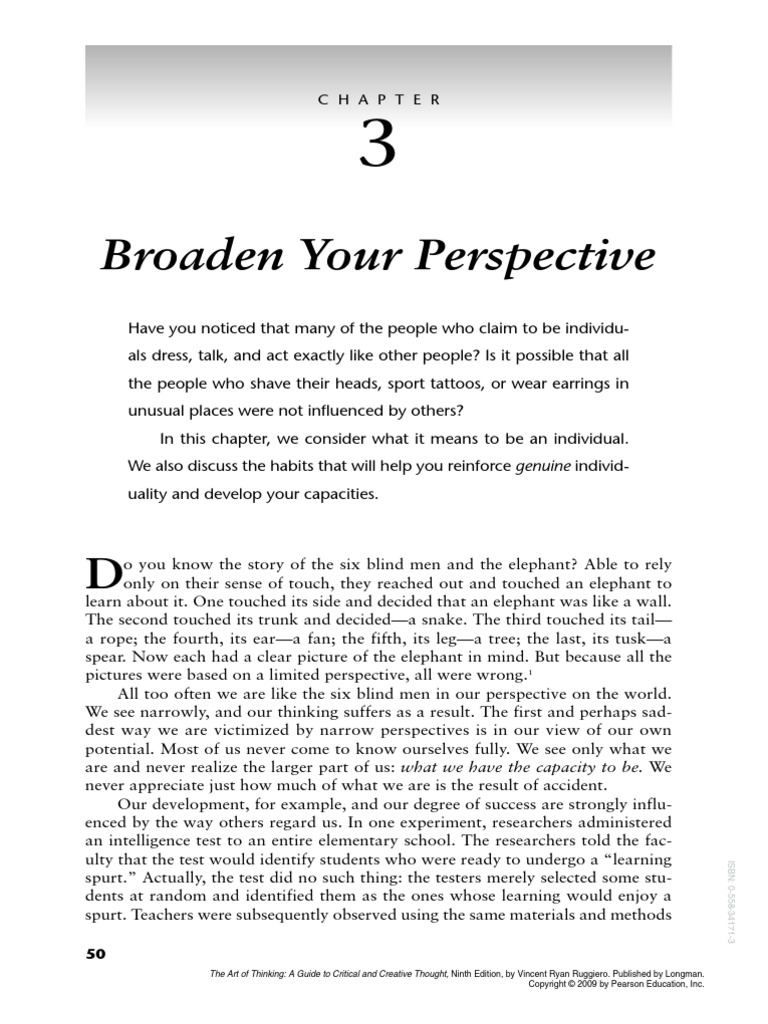 broadening your perspective essay Broadening your perspective 18-1 acc - 561 june 24, 2013 robert smith broadening your perspective 18-1 the martinez company will be selling its new product for $30 per unit the incremental selling expenses are estimated at $502,000 annually plus $2 per unit sold.