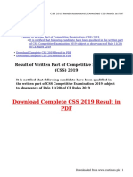 CSS 2019 Result Announced - Download CSS Result in PDF
