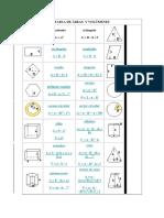 Formulas para calcular areas y volumenes