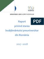 Raport privind starea învățământului preuniversitar din România_2017-2018