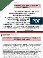 CONVEM 5 DECISIONES  EN 60 DIAS PARA RELANZAR LA ECONOMIA CON VISION SOCIALISTA PRODUCTIVA