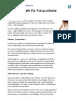Letter to Apply for Postgraduate Funding