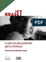 Clément Rosset- La Joie est plus profonde que la tristesse