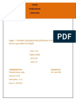 A Study of Consumer Preference and Precept Ion Towards Internet Service Provider in Punjab