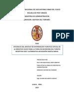EFICIENCIA DEL SERVICIO DE INFORMACION TURISTICA OFICIAL DE LA DIRCETUR CUSCO PARA LA TOMA DE DECISIONES DEL TURISTA RECEPTIVO 2017