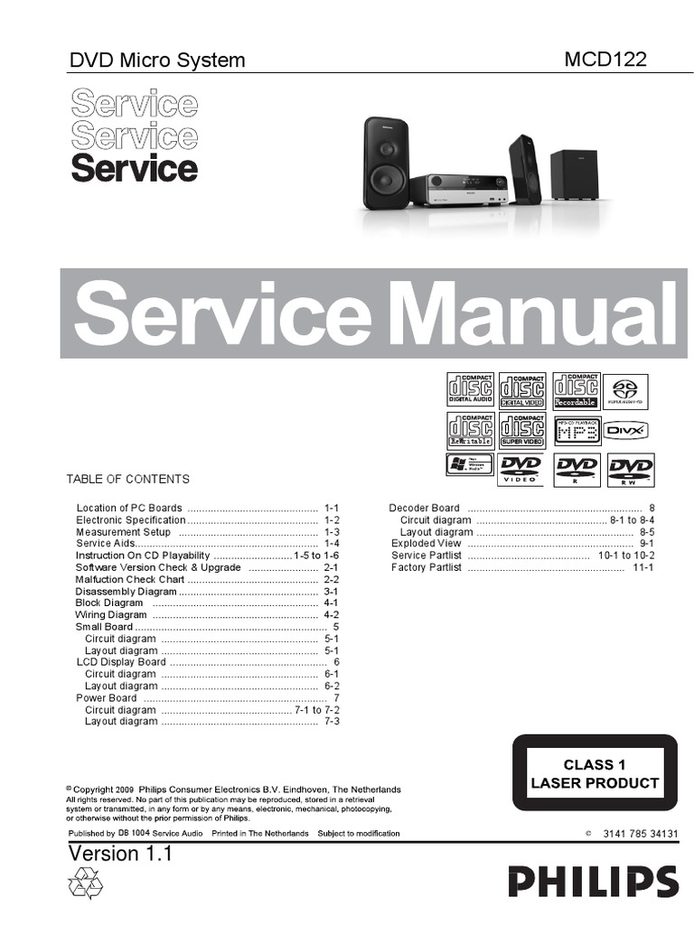 Philips Mcd 122 Service Manual Loudspeaker Compact Disc