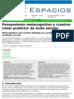pensamiento metacognitivo y creativo como predictor_