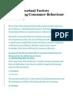 Top 5 Important Factors Influencing Consumer Behaviour