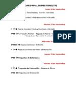 Calendario controles finales del Primer Trimestre (diciembre 2018)