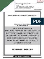 TABLA DE VALORES DE VEHÍCULOS 2020