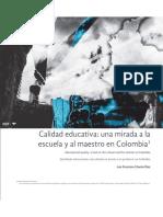 Calidad educativa una mirada a la escuela y al maestro en Colombia