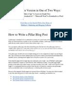Pillar Page Blog Post Template