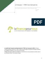 lafinancepourtous.com-Salaire médian des Françaisnbsp 1nbsp789nbsp net mensuel en 2016