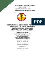 INSTRUMENTAL DE SINTESIS Y DRENAJES QUIRURGICOS. TIPOS Y FORMAS CLASIFICACION. DRENAJES ABDOMINALE