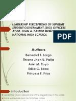 Perceptions of Student Leaders towards Leadership