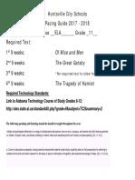 2017- 2018 Eleventh Grade ELA Pacing Guide