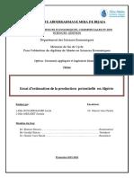 Essai d'estimation de la production potentielle en Algérie