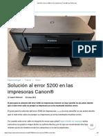 Solución Al Error 5200 en Las Impresoras Canon