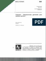 NB 060 Cementos Análisis químico
