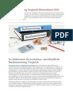 Baufinanzierung Vergleich Deutschland 2020