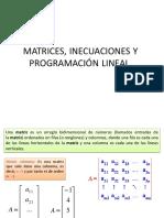 MATRICES Y PROGRAMACIÓN LINEAL