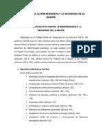 Cuestionario - DELITOS CONTRA LA INDEPENDENCIA Y LA SEGURIDAD DE LA NACIÓN
