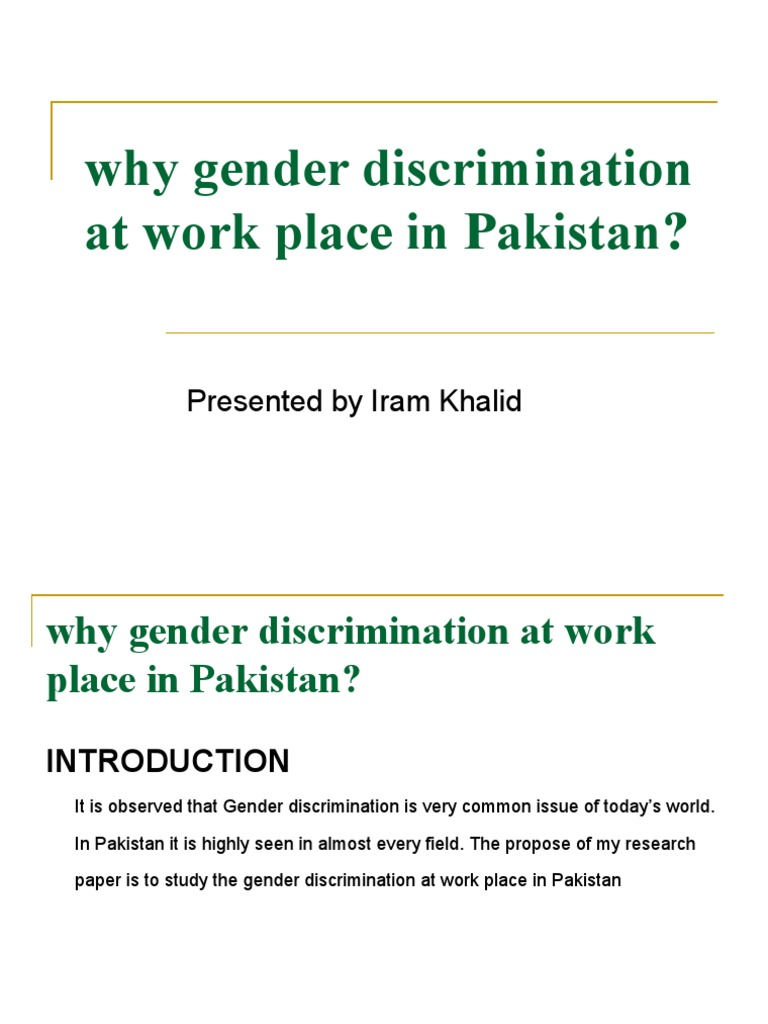 gender discrimination in the workplace in pakistan summary