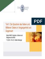 Sprachen des NMO Sprachkontakt2018