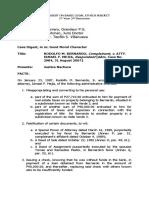 Case Digest Basic Legal Ethics Subject RODOLFO M. BERNARDO, Complainant, v. ATTY. ISMAEL F. MEJIA, Respondent [Adm. Case No. 2984, 31 August 2007]