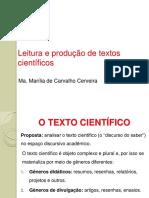 AULA SOBRE leitura e produção de textos científicos
