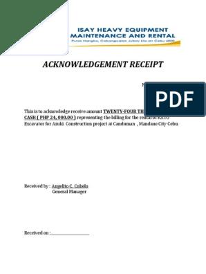 Acknowledgement Receipt Azuki Construction 24k Nov 19 2019