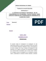 TRABAJO DE INVESTIGACIÓN DE TURISMO DE NATURALEZA EN LA MODALIDA DE TREKKING EN LA CIUDAD DE CUSCO