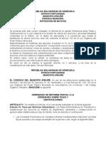 Ordenanza de tasas  Municipio Araure.doc