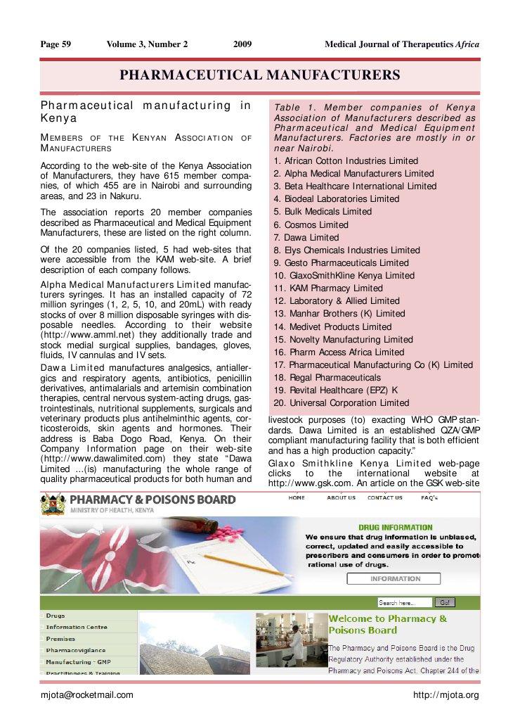 Kenya Pharmaceutical Manufacturers | Pharmaceutical Industry