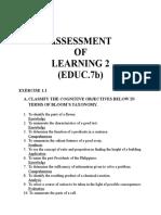 ASSESSMENT OF LEARNING II (EDUC.7b)